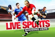 """Image showing footballers with text """"Live Sport"""" Showing Here for The Stag Maidwell"""