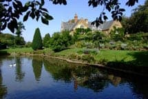 View of the lake at Coton Manor Gardens
